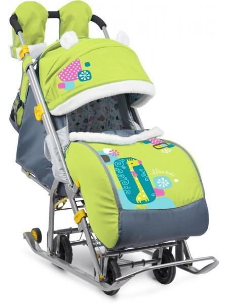Санки-коляска Ника детям 7-2 (жираф, лимонный)