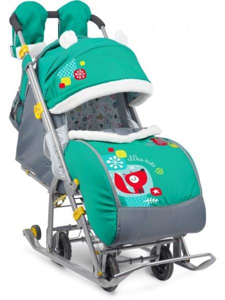 Санки-коляска Ника детям 7-2 (коллаж-лисичка, изумруд)